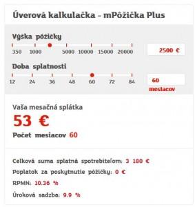 Na stránke mbank je možnosť kalkulačkou zistiť výšku mesačných splátok